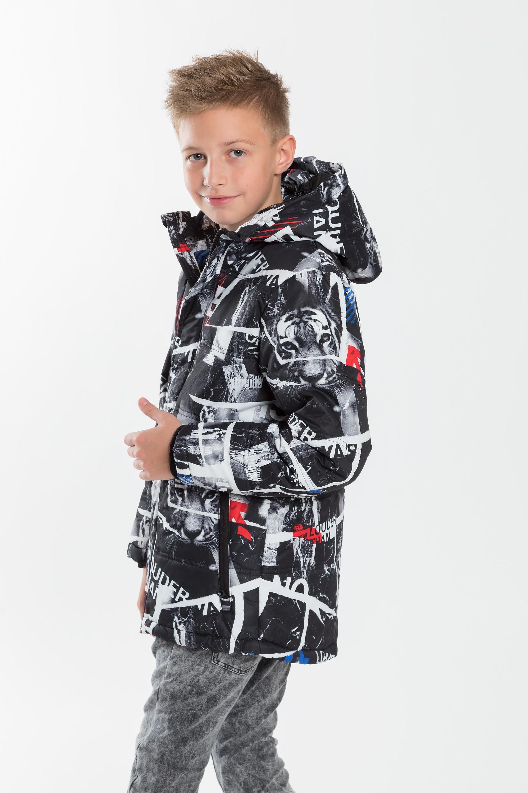 Chłopięca kurtka zimowa z kapturem, full print z tygrysem Sklep Internetowy Reporter Young