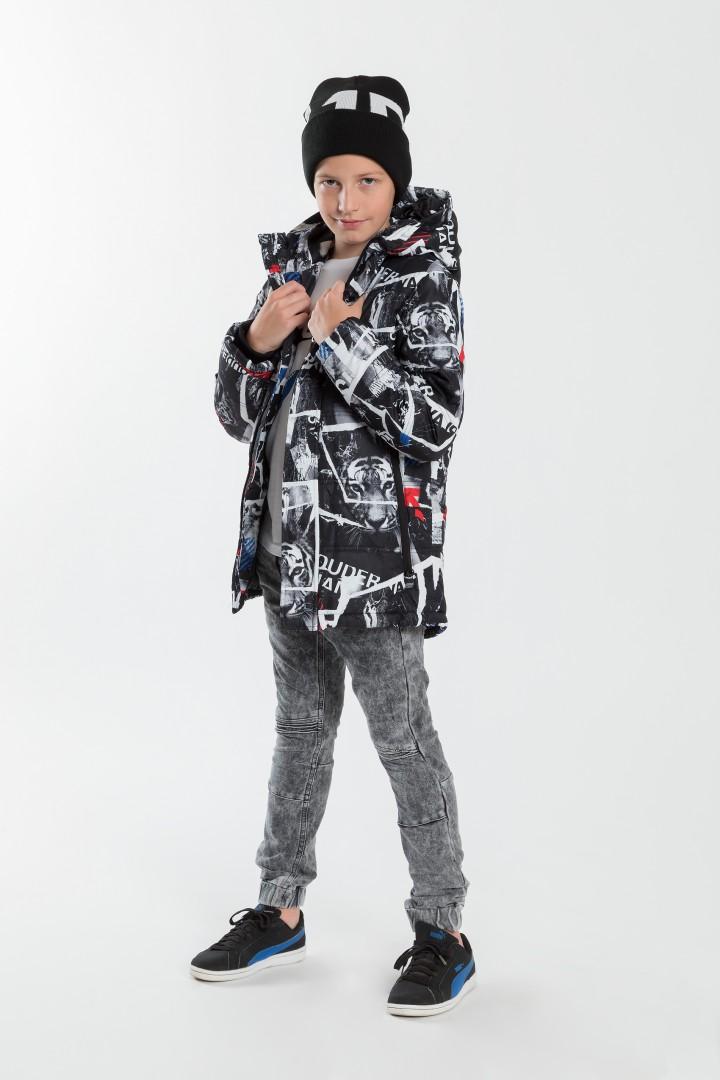 Chłopięca kurtka zimowa z kapturem, full print z tygrysem