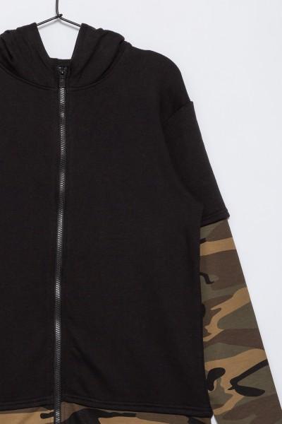 Chłopięca bluza dresowa moro z kapturem Sporty Moro