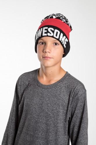 Chłopięca czapka AWESOME red