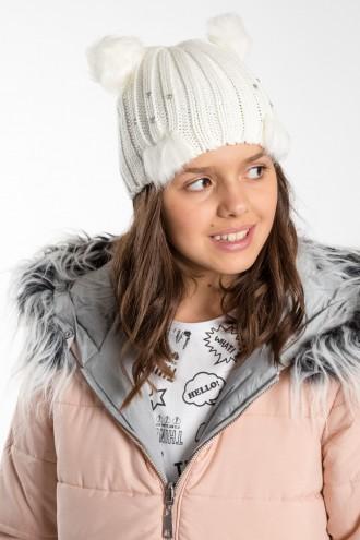 Dziewczęca czapka z futerkiem