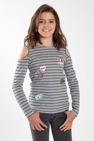 Koszulka dziewczęca COLD SCHOULDERS z długim rękawem
