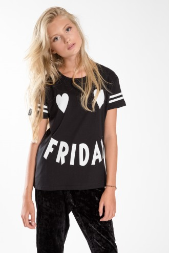 Czarny T-shirt dziewczęcy FRIDAY