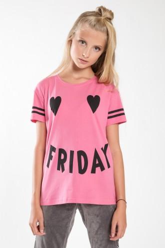 Różowy T-shirt dziewczęcy FRIDAY