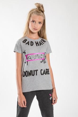 Szary T-shirt dziewczęcy DONUT CARE
