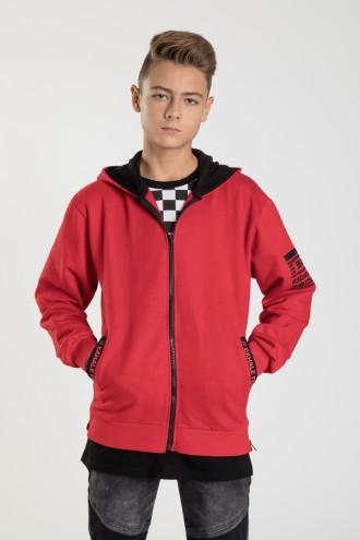 Czerwona bluza na zamek dla chłopaka