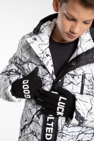 Czarne rękawiczki dla chłopaka GOOD LUCK