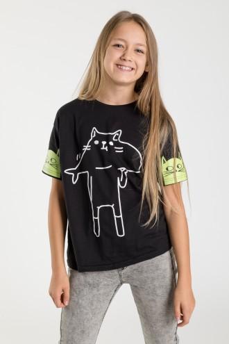 Czarny T-shirt dla dziewczyny CAT