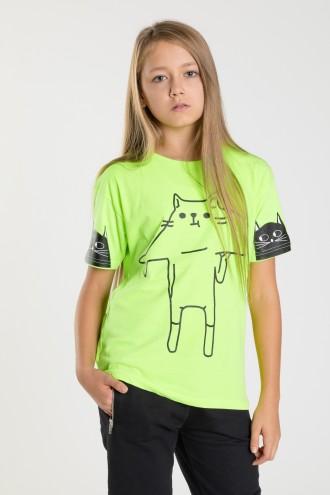 Żółty T-shirt dla dziewczyny CAT