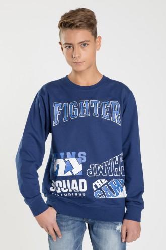 Niebieska bluza z długim rękawem FIGHTER