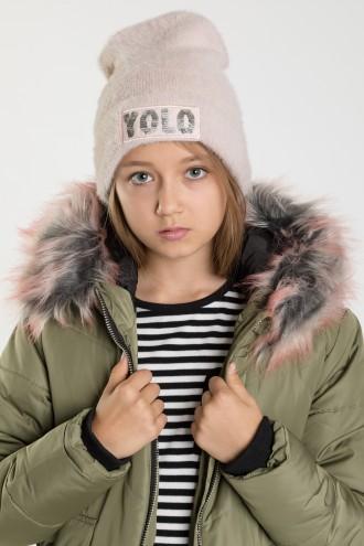 Czapka dziewczęca z nadrukiem YOLO