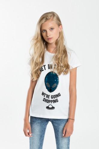 Biały T-shirt dla dziewczynki SHOPPING
