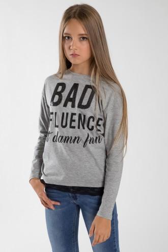 Szara bluzka dla dziewczynki BAD INFLUENCE