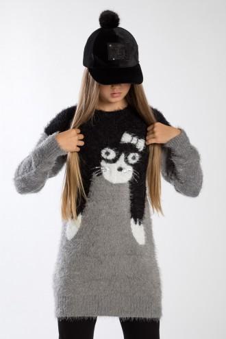 Szaro-czarny sweter dla dziewczynki