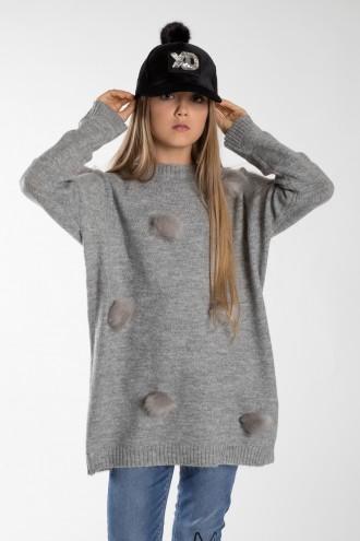 Szary sweter dla dziewczynki