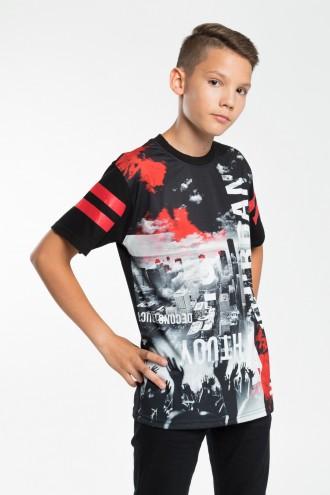 Czarny T-shirt chłopięcy z kolorowym nadrukiem