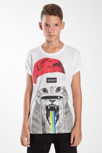 Biały T-shirt dla chłopaka CAT