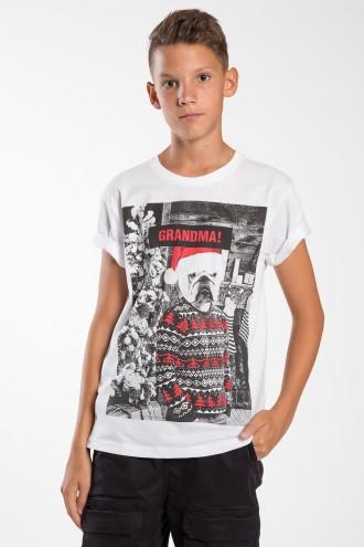 Biały T-shirt z nadrukiem GRANDMA