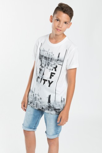 Biały T-shirt dla chłopca CITY