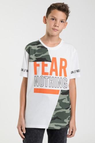 Biały T-shirt z nadrukiem FEAR