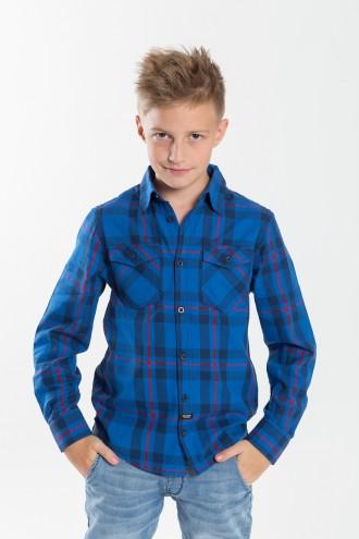 Koszula w niebieską kratę dla chłopaka