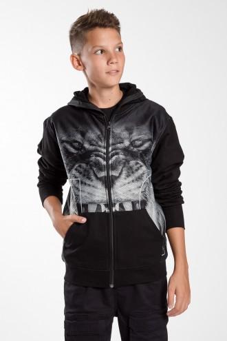 Czarna bluza z kapturem dla chłopaka LION