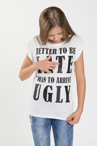 Dziewczęcy T-shirt z czarnym napisem