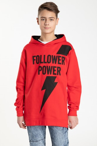 Czerwona bluza z kapturem dla chłopaka