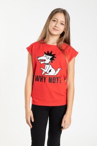 Czerwony T-shirt dla dziewczyny WHY NOT
