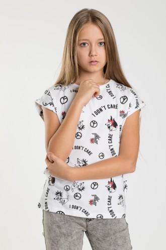 Biały T-shirt z nadrukami dla dziewczyny