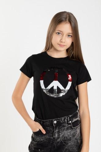 Czarny T-shirt dla dziewczyny PEACE