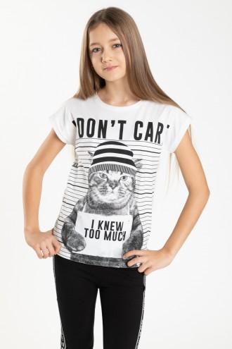 Biały T-shirt PUNK CAT dla dziewczyny