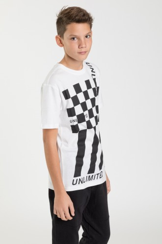 Biały T-shirt z nadrukiem UNLIMITED