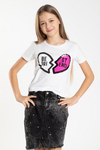 Biały T-shirt dla dziewczyny BEST FRIENDS