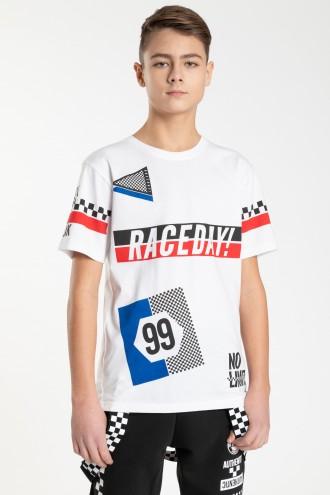 Biały T-shirt dla chłopaka RACEDAY