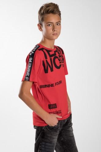 Czerwony T-shirt z nadrukami dla chłopaka TEAM WORK
