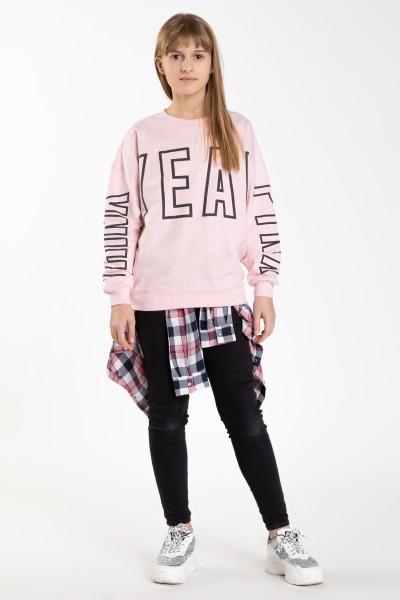 Różowa bluza z długim rękawem OH YEAH