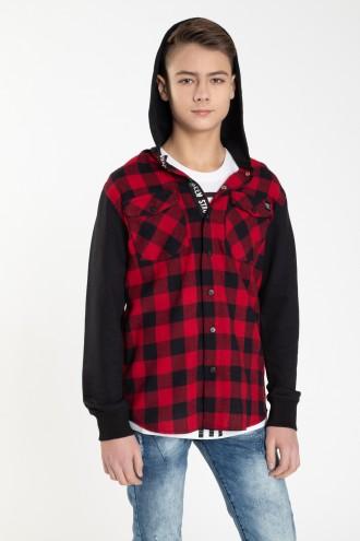 Koszula w czarno-czerwoną kratę z kapturem