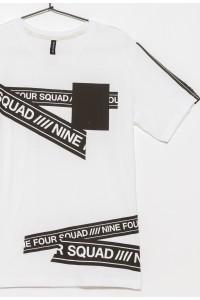 Biały T-shirt z nieregularnymi nadrukami dla chłopaka