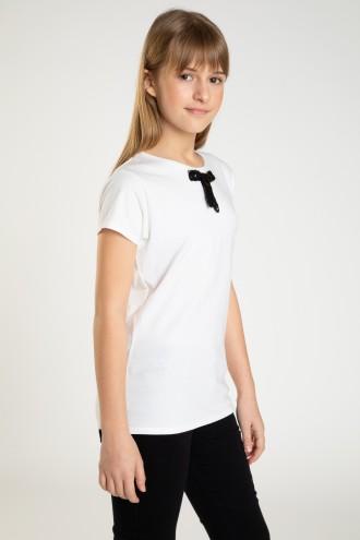 Biała bluzka z kokardką dla dziewczyny