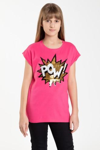 Różowy T-shirt dla dziewczyny z odwracalnymi cekinami POW!