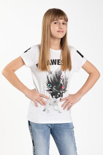 Biały dziewczęcy T-shirt BE AWSOME