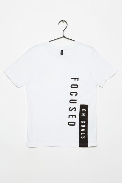 Biały T-shirt dla chłopaka FOCUSED