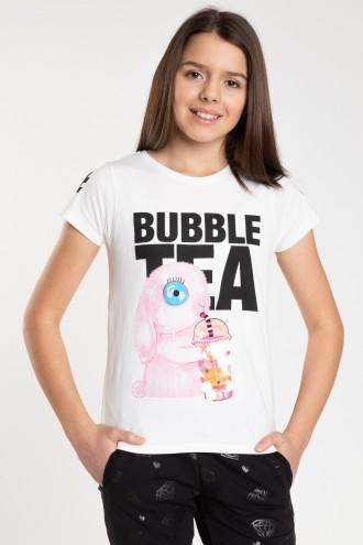 Biały T-shirt dla dziewczyny BUBBLE TEA