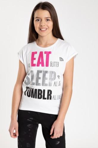 Biały T-shirt z napisami dla dziewczyny