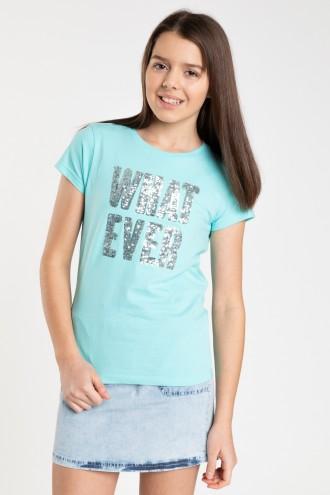 Zielony T-shirt dla dziewczyny WHAT EVER