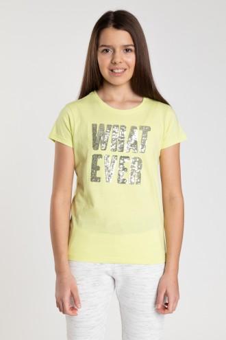 Żółty T-shirt dla dziewczyny WHAT EVER