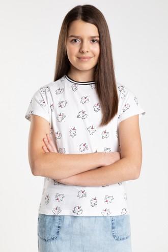 Biały T-shirt we wzory dla dziewczyny