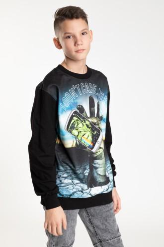 Czarna bluza z nadrukiem dla chłopaka