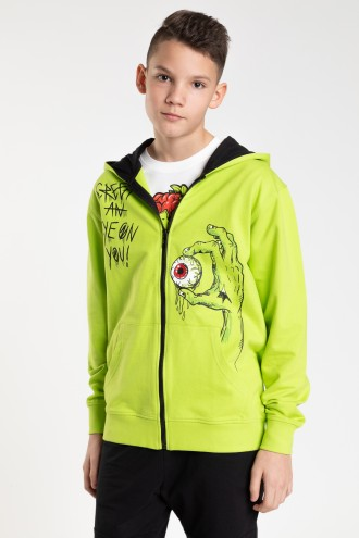 Zielona rozpinana bluza z kapturem dla chłopaka
